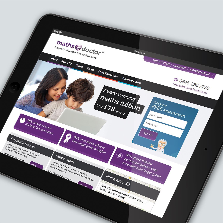 Maths Doctor website on tablet