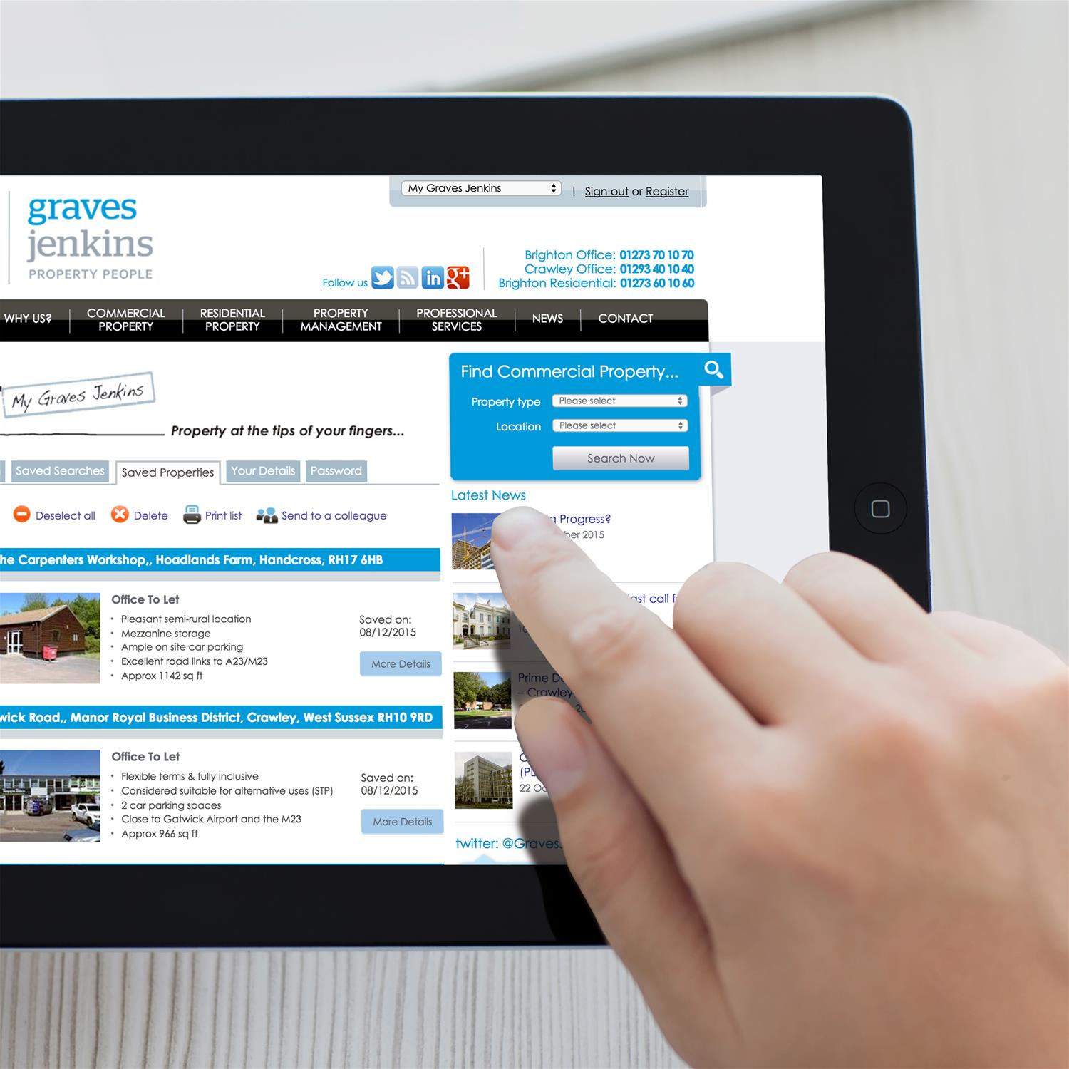 Graves Jenkins website design on tablet
