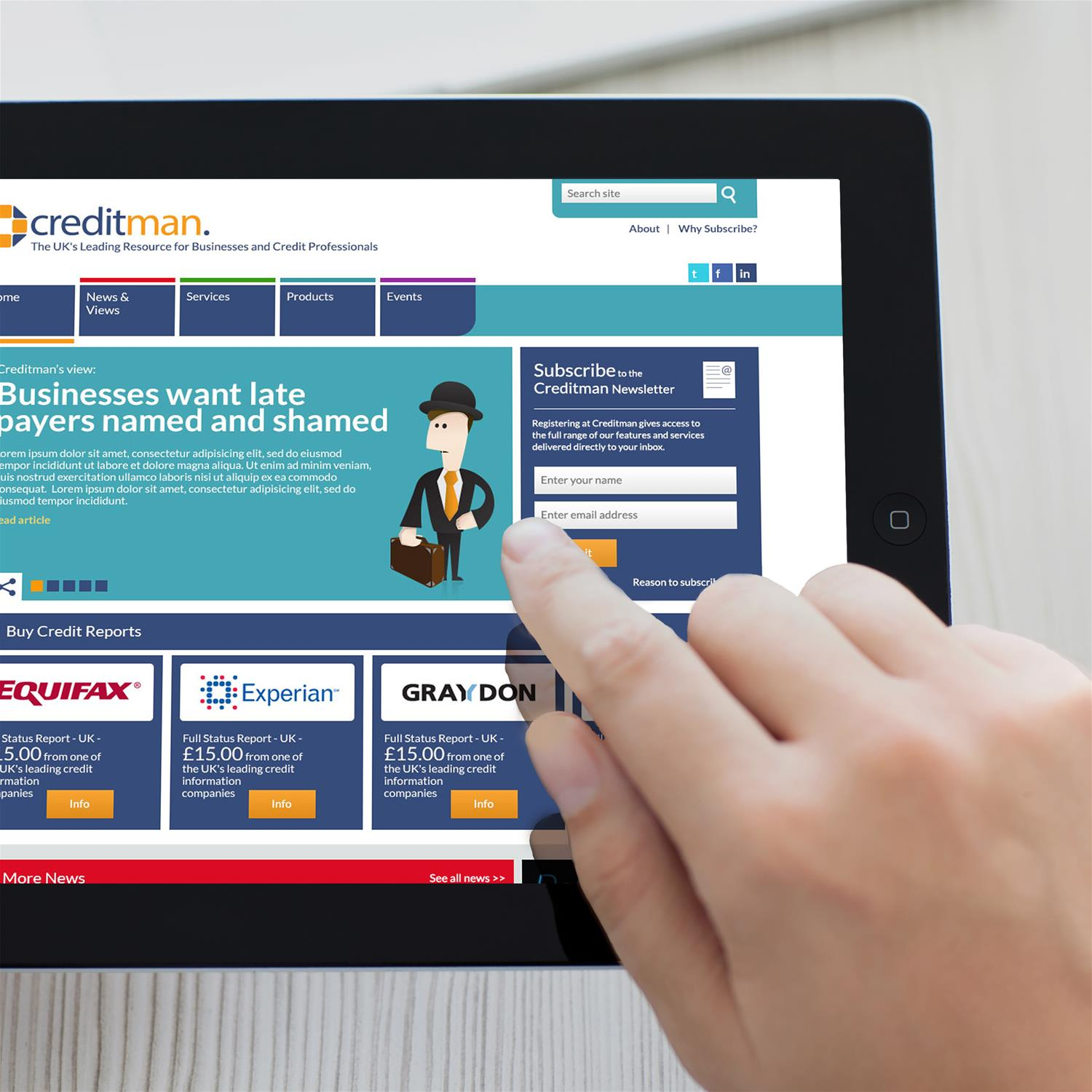 Creditman website on tablet