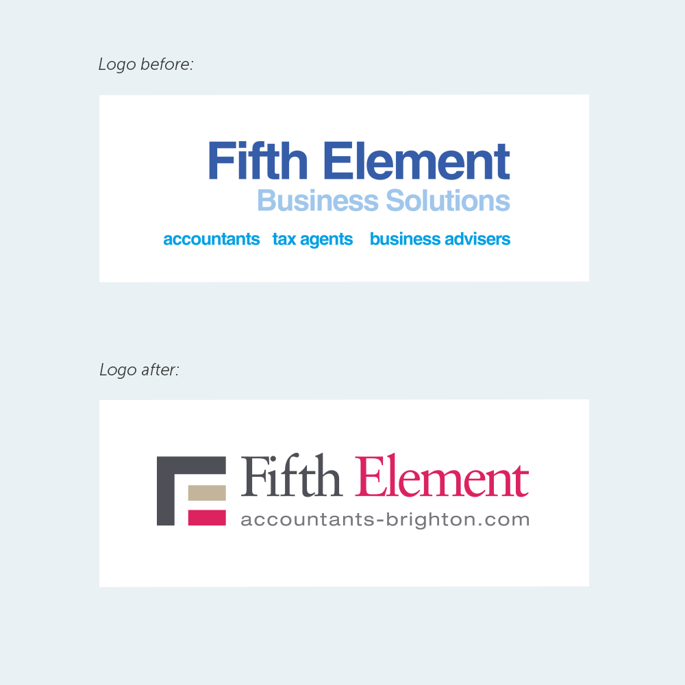 fifth-element logo before and after redesign