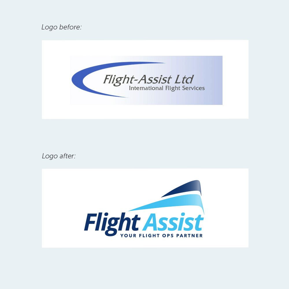 flight assist before and after logo redesign