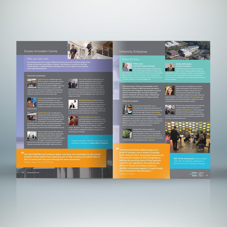 Print Design for Sussex Innovation Centre brochure inside pages